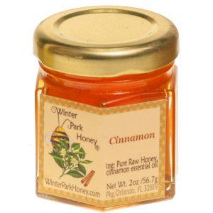 2oz glass hex with cinnamon honey