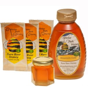 Mountain Gold Honey in several different sized containers