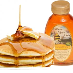 honey with pancakes