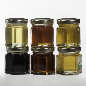 See the different colors of the honey