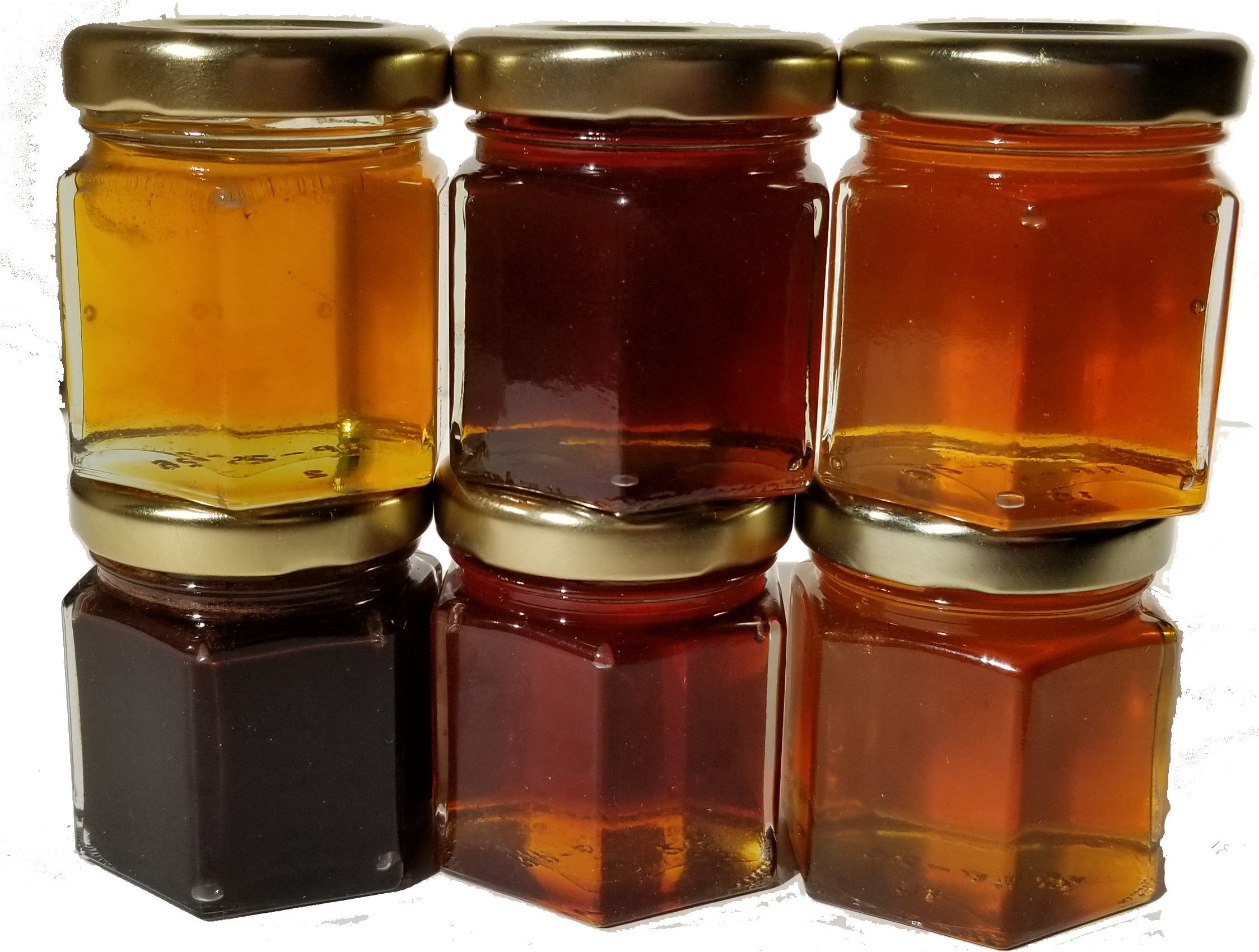 see the different colors of honey, lavender, cinnamon, key lime, chocolate, hot (jalepeno), local wildflower