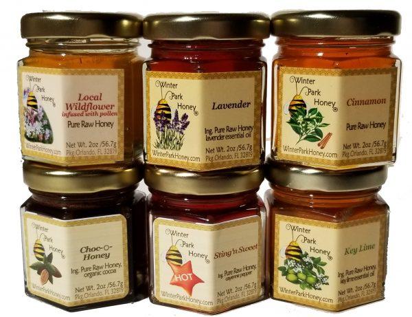 2oz honey jars, cinnamon, lavender, hot honey, jalepeno honey, key lime, key lime, chocolate, local wildflower