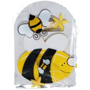 hand painted wooden bee box with honey packets
