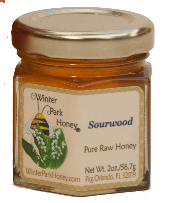 Sourwood Honey 2oz glass hex