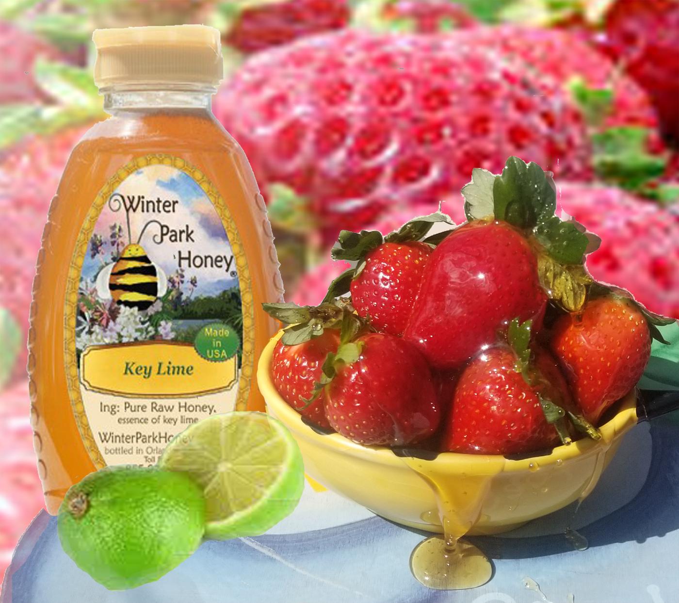 key lime honey over strawberries