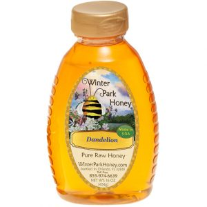 bottle of dandelion honey