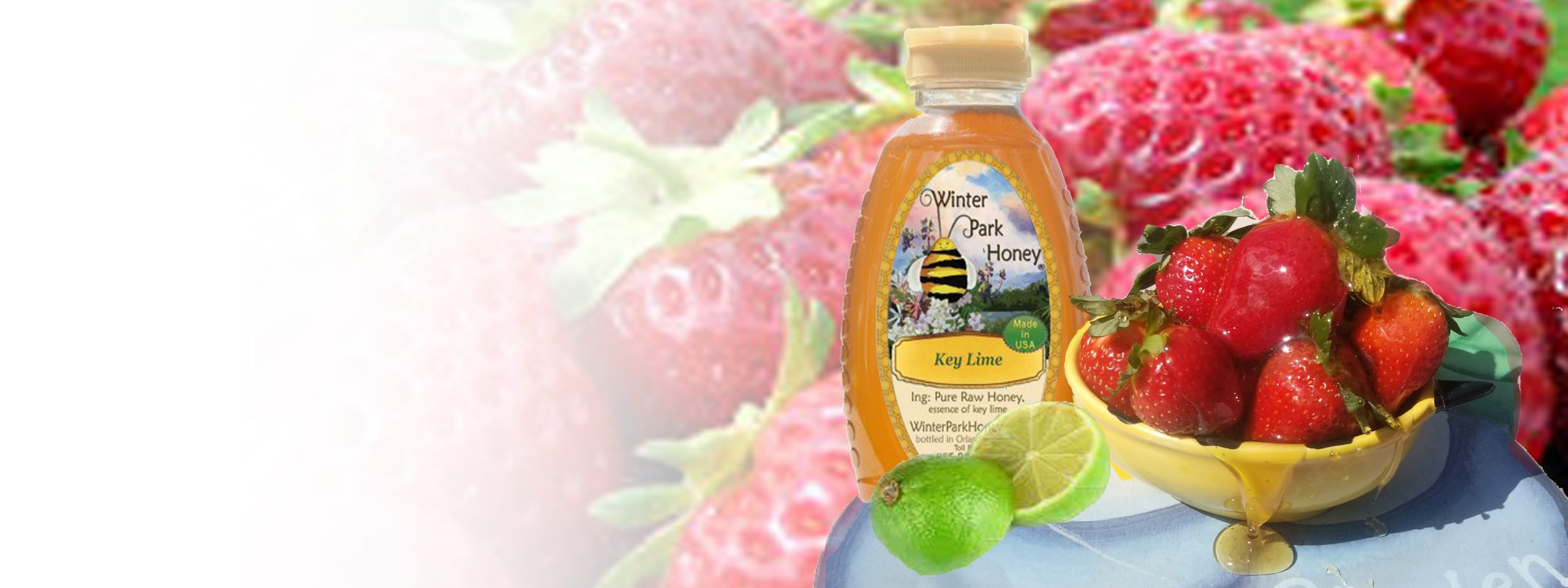 Key lime honey with strawberries