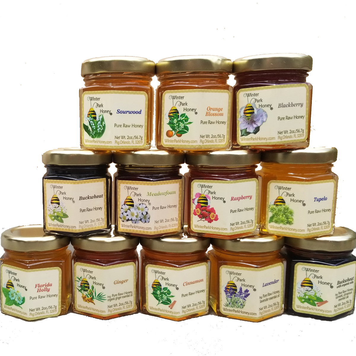 Stack of 12 glass jars of Winter park Honey